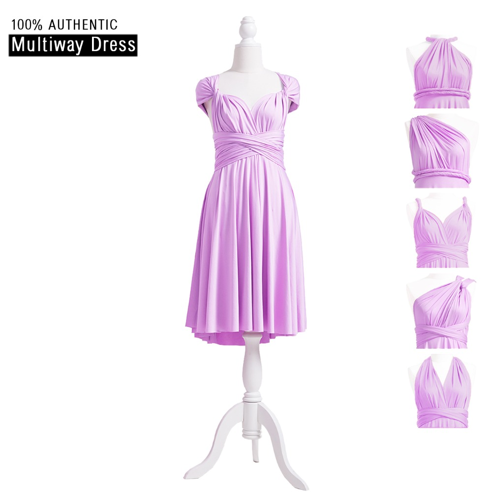 Lavender   Bridesmaid     Dress   Short Infinity   Dress   Convertible   Dress   Multi Way Wrap   Dress   With Cap Sleeves Style