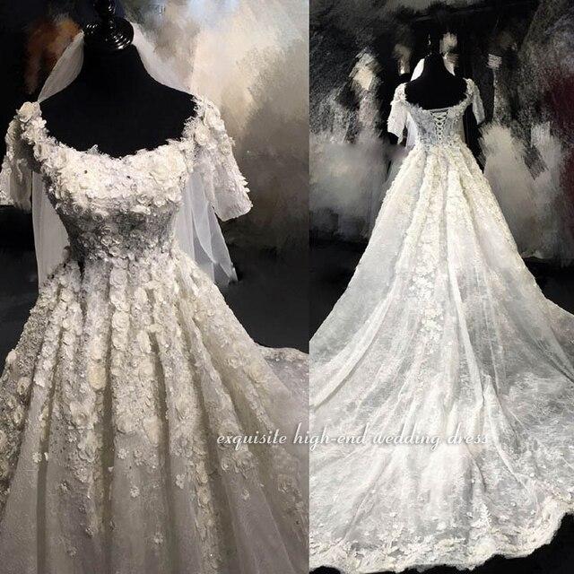 Exclusive Luxury Lace Wedding Dresses 2019 Applique Beading Vintage Wedding  Dress Chapel Train Destination Formal Bridal Gowns c402b47d0f4e