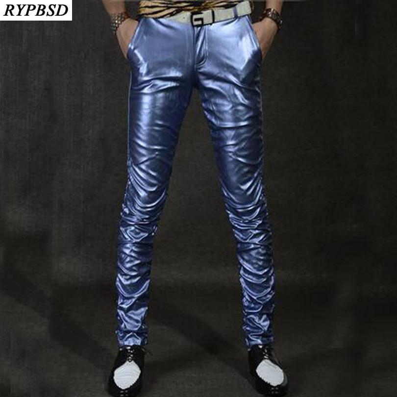 2018 New Leather Mens Pants PU Leather Men Pants Velvet Slim Multi Color Fashion Casual Performance Leather Trousers Men