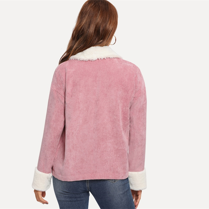 SHEIN Pink Contrast Faux Fur Detail Drop Shoulder Collar Jacket Autumn Single Breasted Casual Elegant Women Coat Outerwear