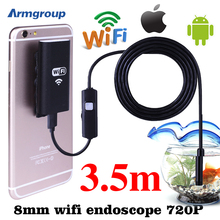 WiFi 8mm 3.5M Endoscope Borescope Waterproof Inspection HD Camera Snake IOS Iphone Endoskop Android Phones Mac Windows Endoscope