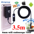 Wifi 8mm 3.5 m serpiente cámara de inspección endoscopio endoscopio impermeable hd ios iphone endoskop teléfonos android windows mac endoscopio