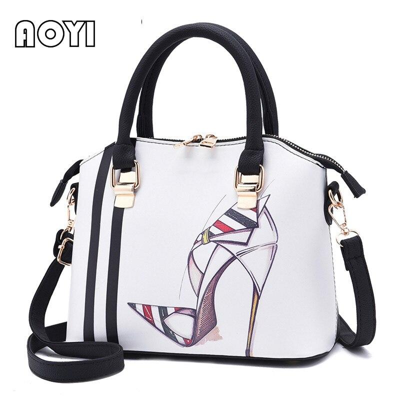 AOYI Fashion Women Handbag Female Bags Stylish Top Handle PU Leather Shoulder Bag Crossbody Messenger Bag Casual Tote Famous Sac