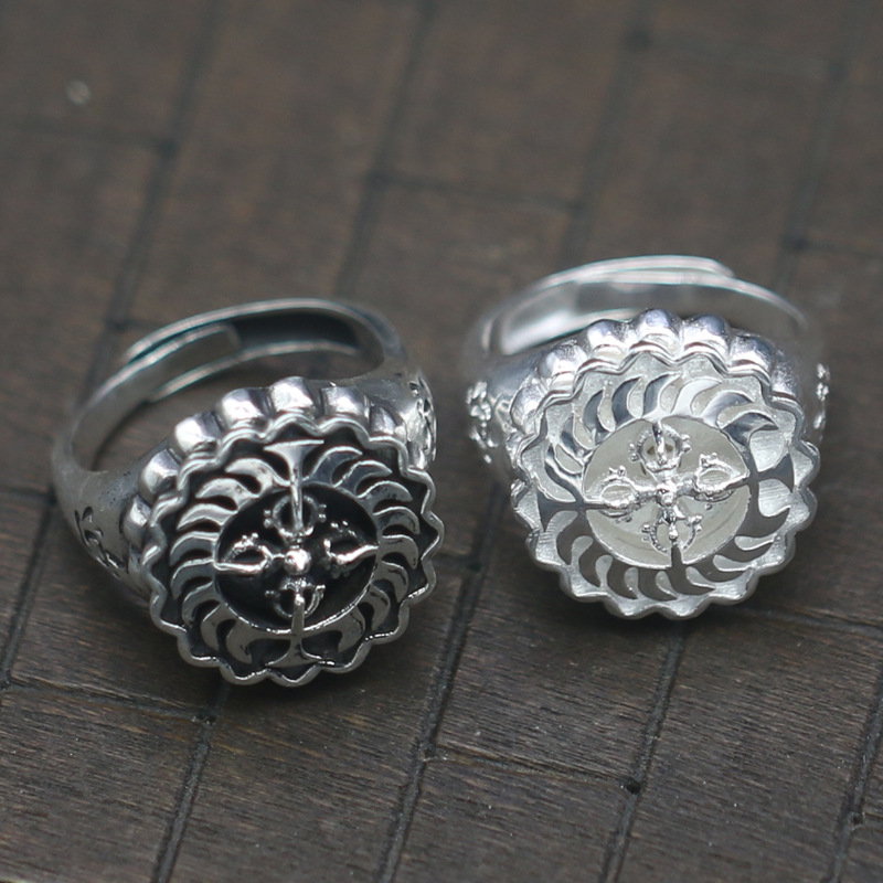 S925 pure silver cross vajra opening ring element silver rotational index finger ring width both men and women