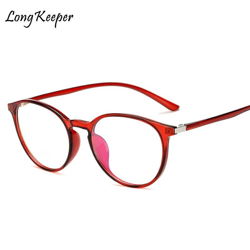 Long Keeper 2018 Women Retro Eyeglasses Frame Female Eye Glasses Vintage Optical Glasses Oval Transparent Lens Red Frame Am11757