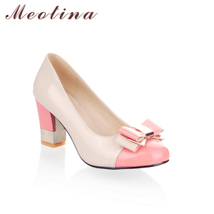 Image 3 - Meotina Ladies Shoes Pumps Autumn Round Toe Basic Office Chunky High Heels Shoes Women Bow Candy Color Shoes Plus Size 9 10
