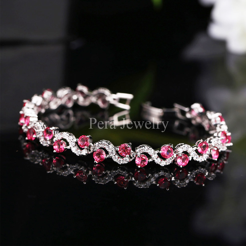 Pera 5 Color Options Fashion Ladies Sterling Silver Cubic Zirconia Royal Blue Stone Bracelets Jewelry For Christmas Gift B017 6