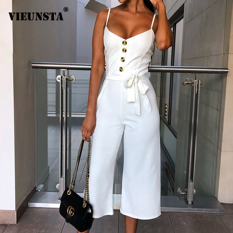 VIEUNSTA Sexy V-neck Bow Lace Up Women   Jumpsuit   Romper Summer Sleeveless Button Overalls Elegant Ladies Spaghetti Strap Playsuit