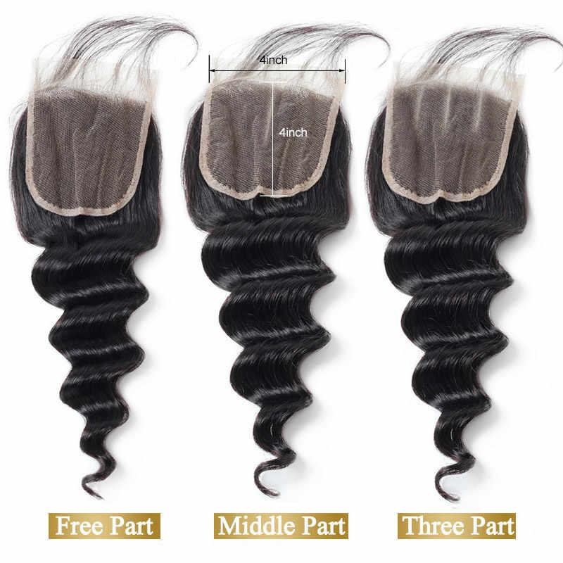 Funmi pelo brasileño suelto onda profunda 3 paquetes con cierre doble trama virgen cabello humano paquetes con cierre de encaje 4 4X4 pulgadas