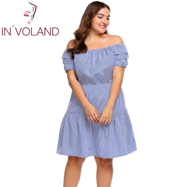 86b7459a559 IN VOLAND Women Dress Plus Size L-4XL Off Shoulder Short Sleeve Stripe  Layered Ruffle Strapless Party Dresses Vestidos Big Size
