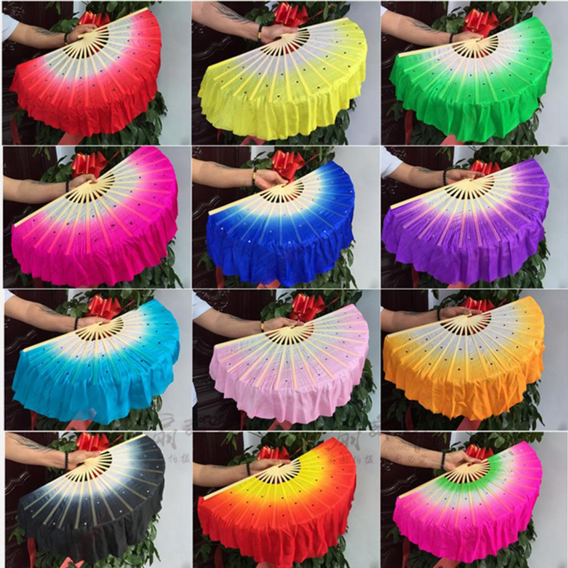 1pair (L + R) Chinese Real Silk Bamboo Ribs Fan Veils Nice Belly Dancing hedvábí short Fans Stage Performance Fans Props 12 barev