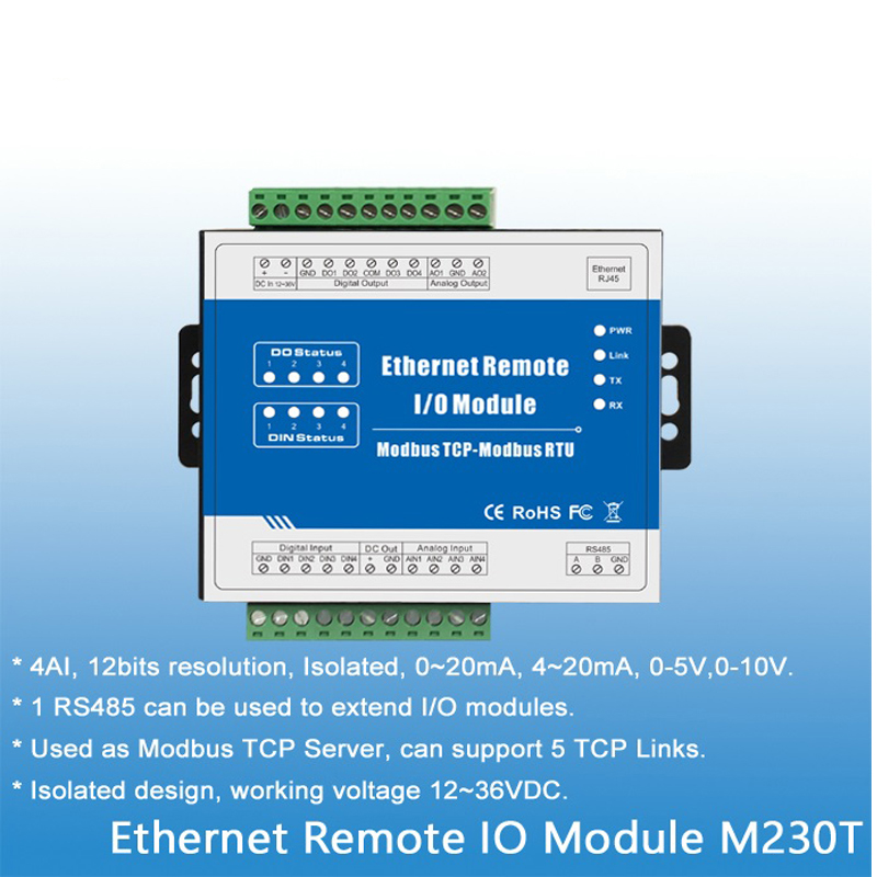 Modbus TCP Ethernet Remote I/O Module 4 Analog Input Data Acquisition 1 RS485 can extend IO modules 12-36 V