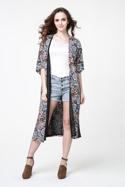 2016 Primavera Nuevas Llegadas Mujeres de La Moda retro impreso gasa Larga sección abrigo de ropa casual chaqueta de gran tamaño