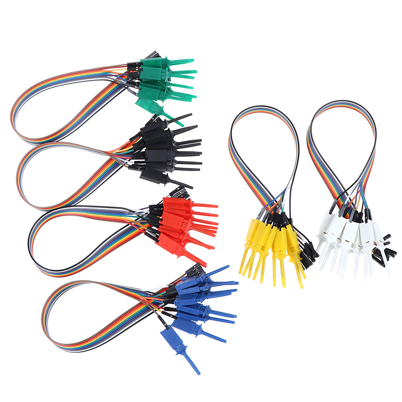 10pcs 300mm High Efficiency Test Hook Clip Logic Analyzer Cable Gripper Probe Test Clamp Kit Yellow/Red/Black/Green|Alligator Clips| |  - title=