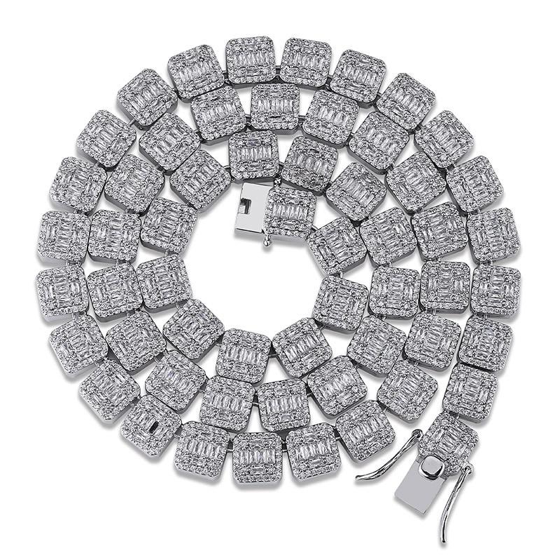 Grand carré AAA Zircon complet CZ glacé bord de la chaîne collier de luxe Hip Hop cadeau pour les rappeurs bijoux de fête