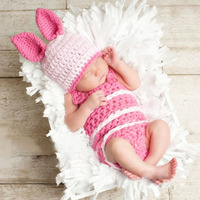 Newborn Photography Props Pig Ears Cap Knit Hat Animal Costume Pink Crochet Baby Romper Winter Clothing