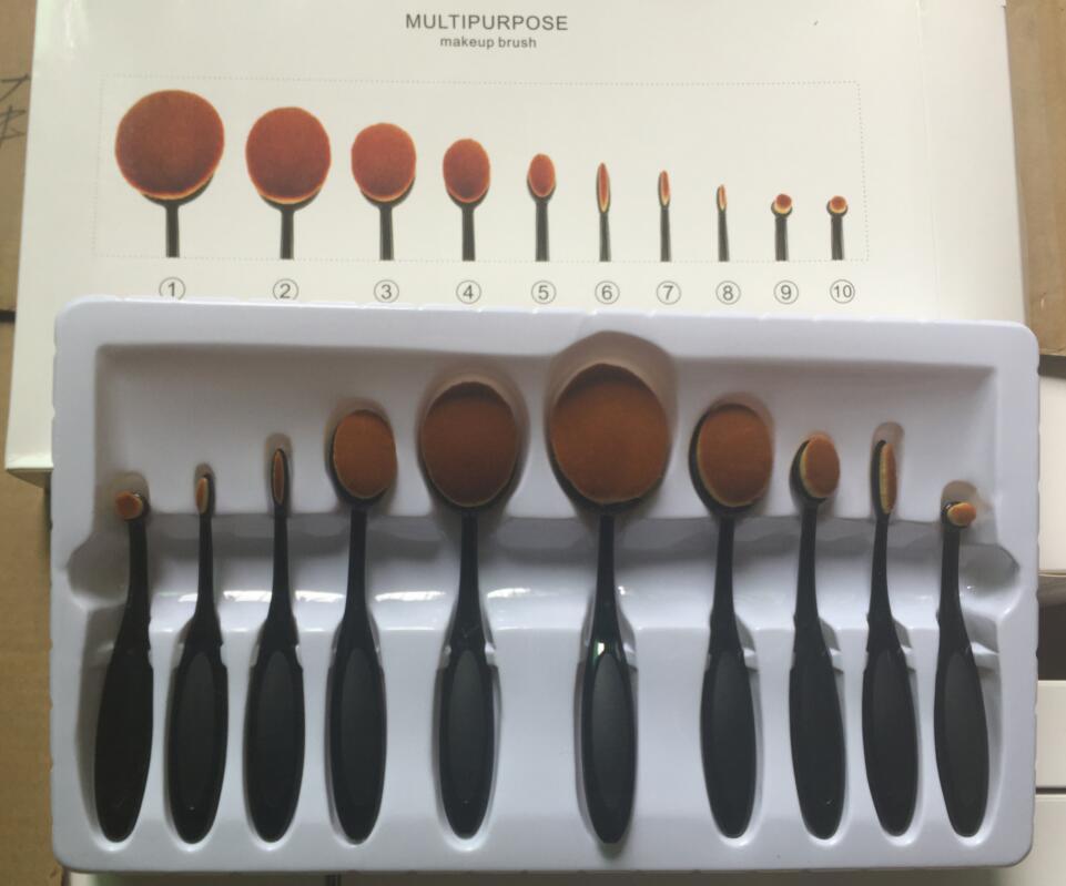1pcs Professional 10pcs Oval toothbrush Makeup Brushes Extremely Soft Make up Brushes Set Foundation Powder Brush Kit