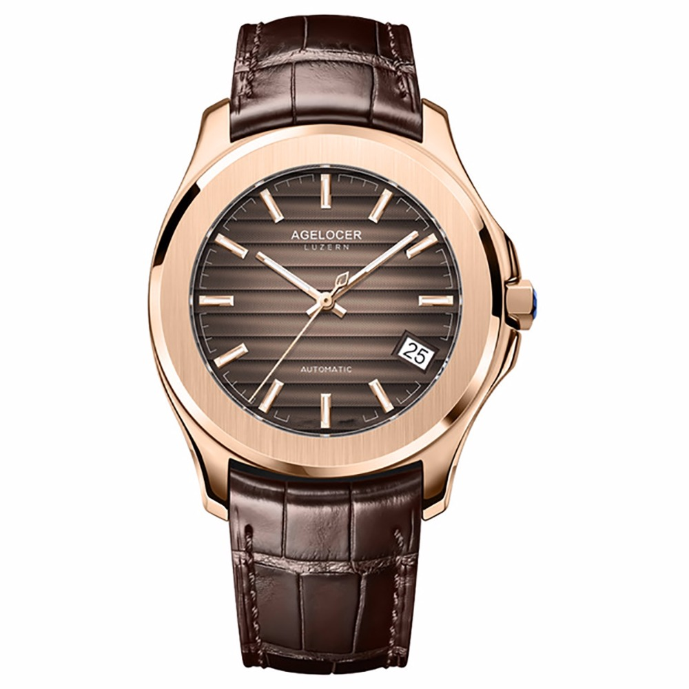Agelocer Luxury Dress Watch Men Leather Strap Brown Dial Rose Gold Mechanical Watches with Date Luminous Analog Watches 6303D2 men s pu band analog mechanical wrist watch with gold dial brown