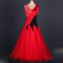 Ballroom Waltz Competition Dancing Skirt 2016 New Design Tassel Sleeveless Red Modren Waltz Ballroom Dance Dresses c kinkel gossamer waltz