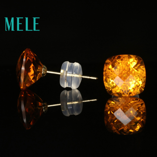 Natural yellow citrine 18k gold earrings studs for women 8mm square cut gemstone fashion and trendy fine jewelry high quality
