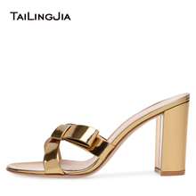 цены Open Toe Gold Block High Heel Mules Women Patent Leather Cross Tied Knotted Sandals Sexy Dress Heels 2018 Summer Shoes Wholesale