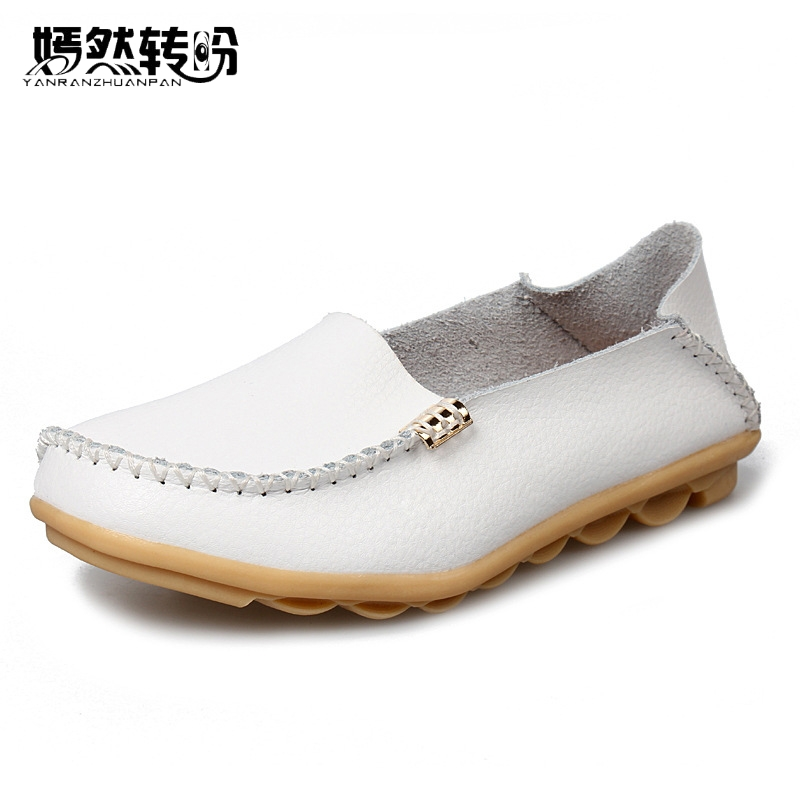 Women's Flats Genuine Leather Shoes Casual Loafers Shoes For Woman Fashion Slip On Comfortable Breathable Zapatos Mujer new 2017 men s genuine leather casual shoes korean fashion style breathable male shoes men spring autumn slip on low top loafers