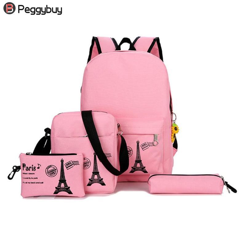 10Pcs/Set Book Students Printing Schoolbag For Teenager Girls Boy Canvas Backpack Satchel Composite Shoulder Bags