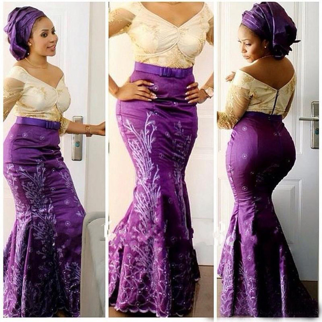 75dd063b7d Aso Ebi Style Plus Size Prom Dress 2017 V Neck Lace Illusion Long Sleeve  Mermaid Evening Gowns Purple Nigeria Formal Party Dress