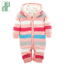 купить Baby Rompers Winter Thick Climbing Clothes Newborn Boys Girls clothes Warm Romper Knitted Sweater striped Hooded baby jumpsuit по цене 1883.59 рублей