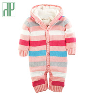 Baby Rompers Winter Thick Climbing Clothes Newborn Boys Girls Clothes Warm Romper Knitted Sweater Striped Hooded
