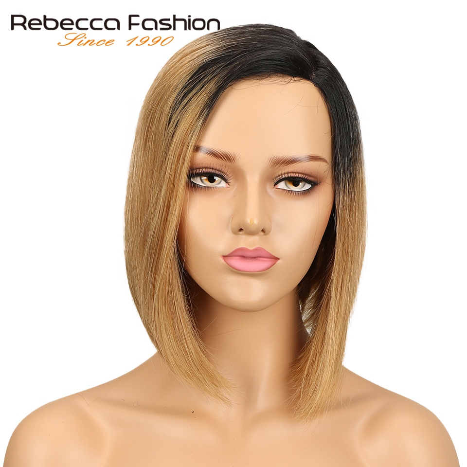 Rebecca Left L Part Human Hair Lace Wigs For Women Brazilian Remy Straight Hair Short Bob Wig Brown Blue Mix Color Free Shipping