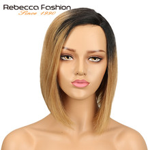 Rebecca Left L Part Human Hair Lace Wigs For Women Brazilian Remy Straight Hair Short Bob Wig Brown Blue Mix Color Free Shipping(China)