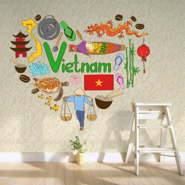 Vietnam Illustration Travel The Word Landmark Wall Sticker Wedding Decor Vinyl Waterproof Wallpaper