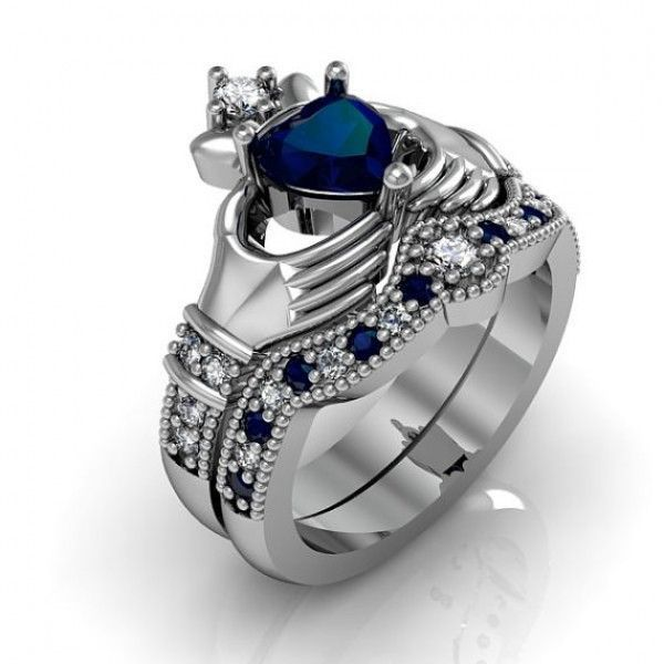 High Quality Accent Blue Shire Heart Cubic Zirconia Wedding Promise Ring Set Irish Claddagh