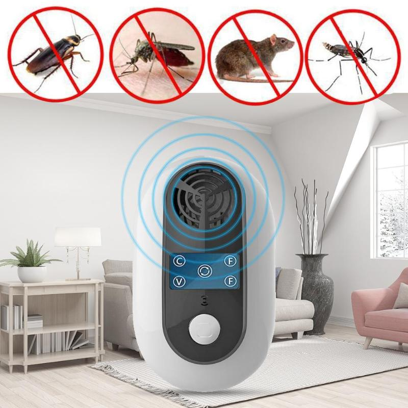 Frequency Conversion Ultrasound Insect Repeller Cockroach Mouse Repellent Rat Mouse Cockroach Pest Reject Repellent EU/US Plug(China)