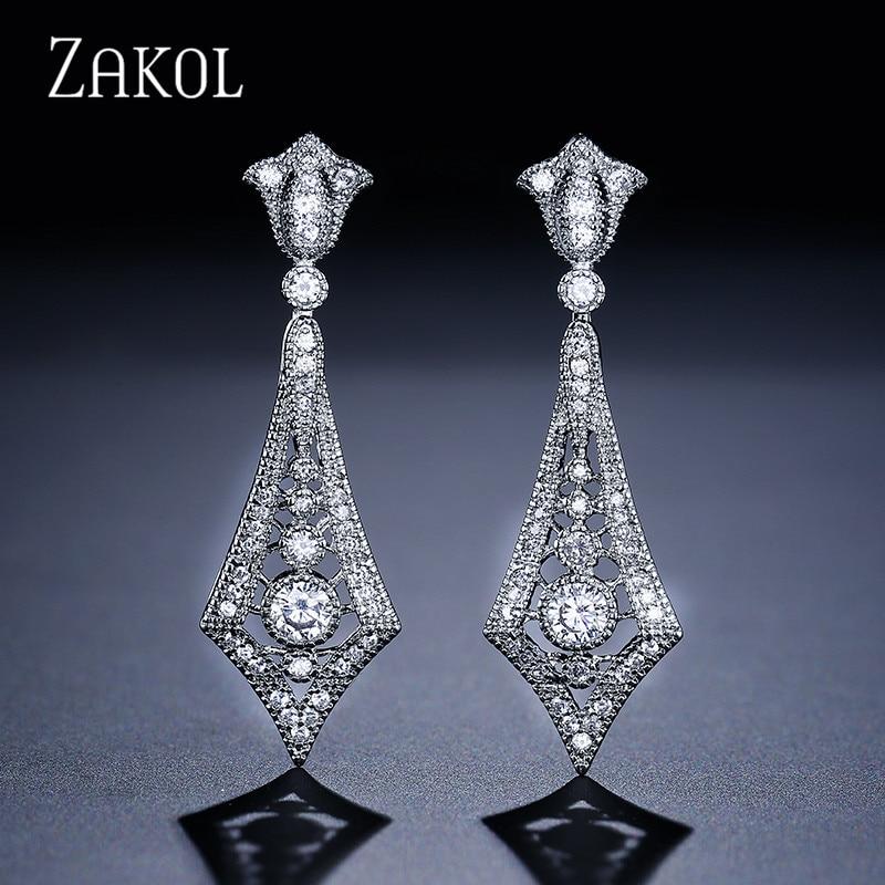 ZAKOL Luxury Europe Style Women Drop Earrings With CZ Stone Chandelier Shaped Dangle Weddding Jewelry For Women FSEP2062