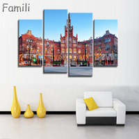 4Panel Living Room Home Wall Modern Art Decoration Fabric Poster Spain City Landscapes Canvas Poster Print