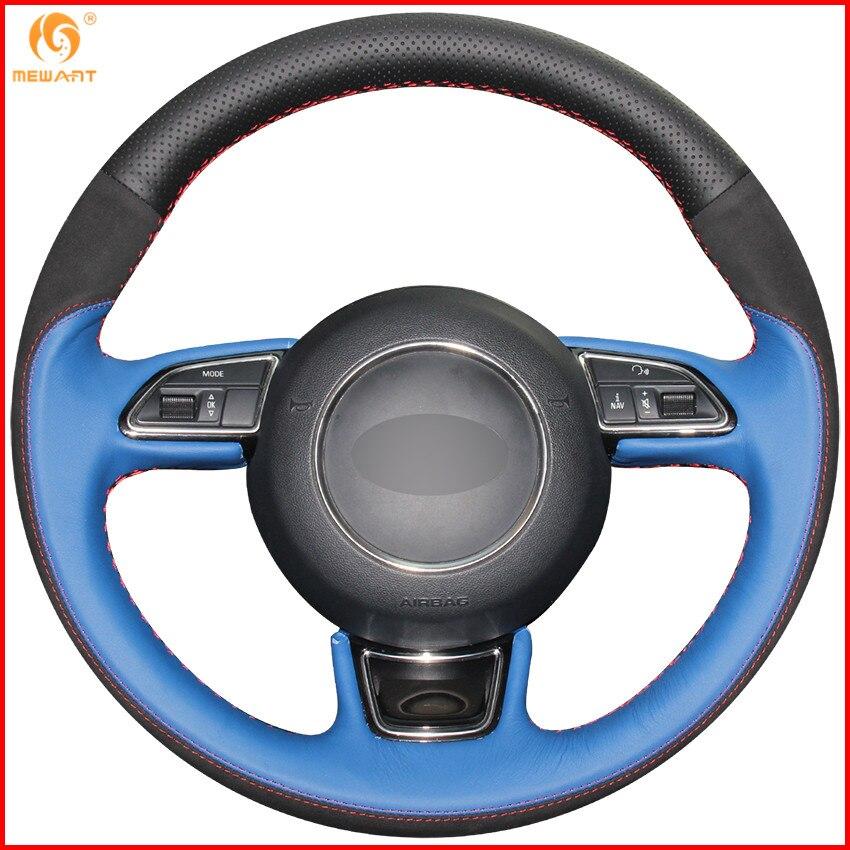 Aliexpress Com Buy Mewant Black Genuine Leather Black: MEWANT Black Blue Genuine Leather Black Suede Car Steering