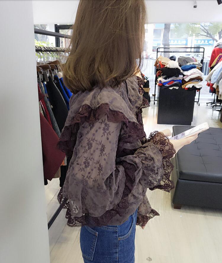 Корейские модные весенние женские 2019 новые гофрированные шифоновые кружевные женские рубашки топы и блузки больших размеров женское платье - 2
