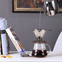 500ML pour over Coffee Server and V60 02 Coffee Dripper Sets Brewer coffee Percolators stainless steel filter and glass server