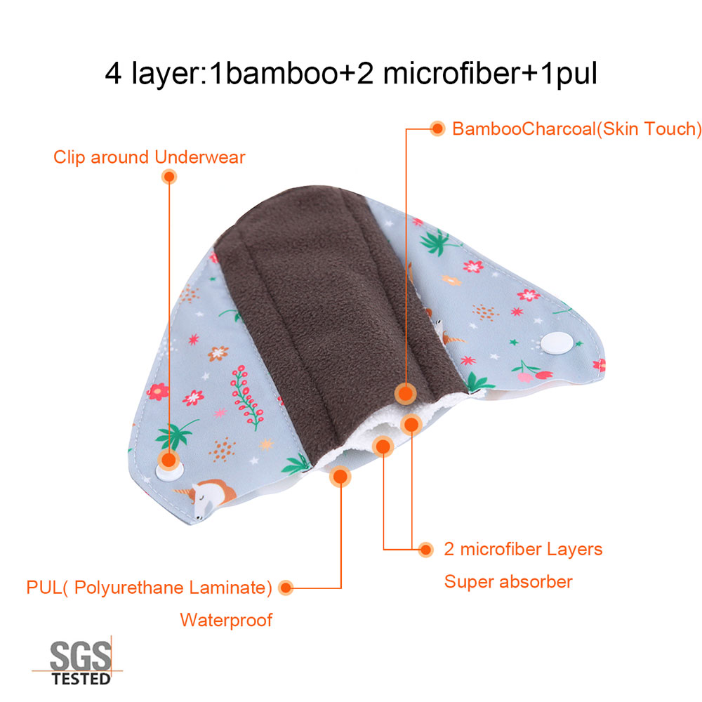 Image 5 - OhBabyKa Washable Sanitary Pads Bamboo Cloth Pads Reusable Serviette Hygienique Cartoon Print Women Menstrual Pads Size S M L-in Feminine Hygiene Product from Beauty & Health