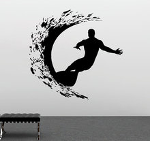 Sport Series Wall Decal Extreme Surfer Adventure Surfing Wall Sticker Vinyl Art Design Wall Mural Home Bedroom Decoration Y-957
