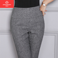 2019 Casual Female trousers Women High Waist Trousers Office Lady Work Straight Ankle Length Gray Black Pants Pencil Pants 4XL