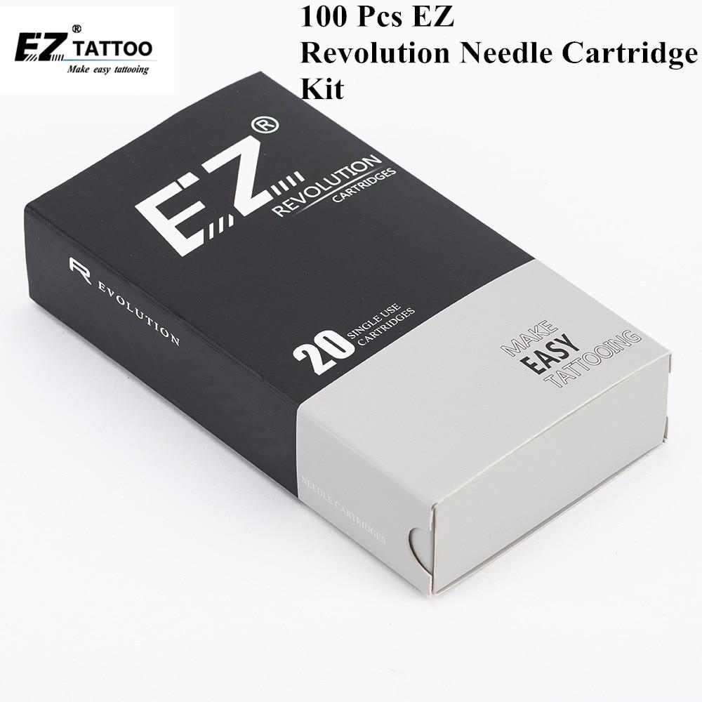 100 PCS EZ Revolution Tattoo Needle Cartridge Kits Round Liner for Cartridge System Tattoo Machine