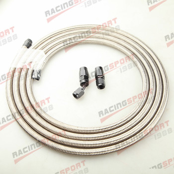 Stainless Steel Braided AN-10 Fuel Gas Line Hose 3M + Swivel Hose End Fitting