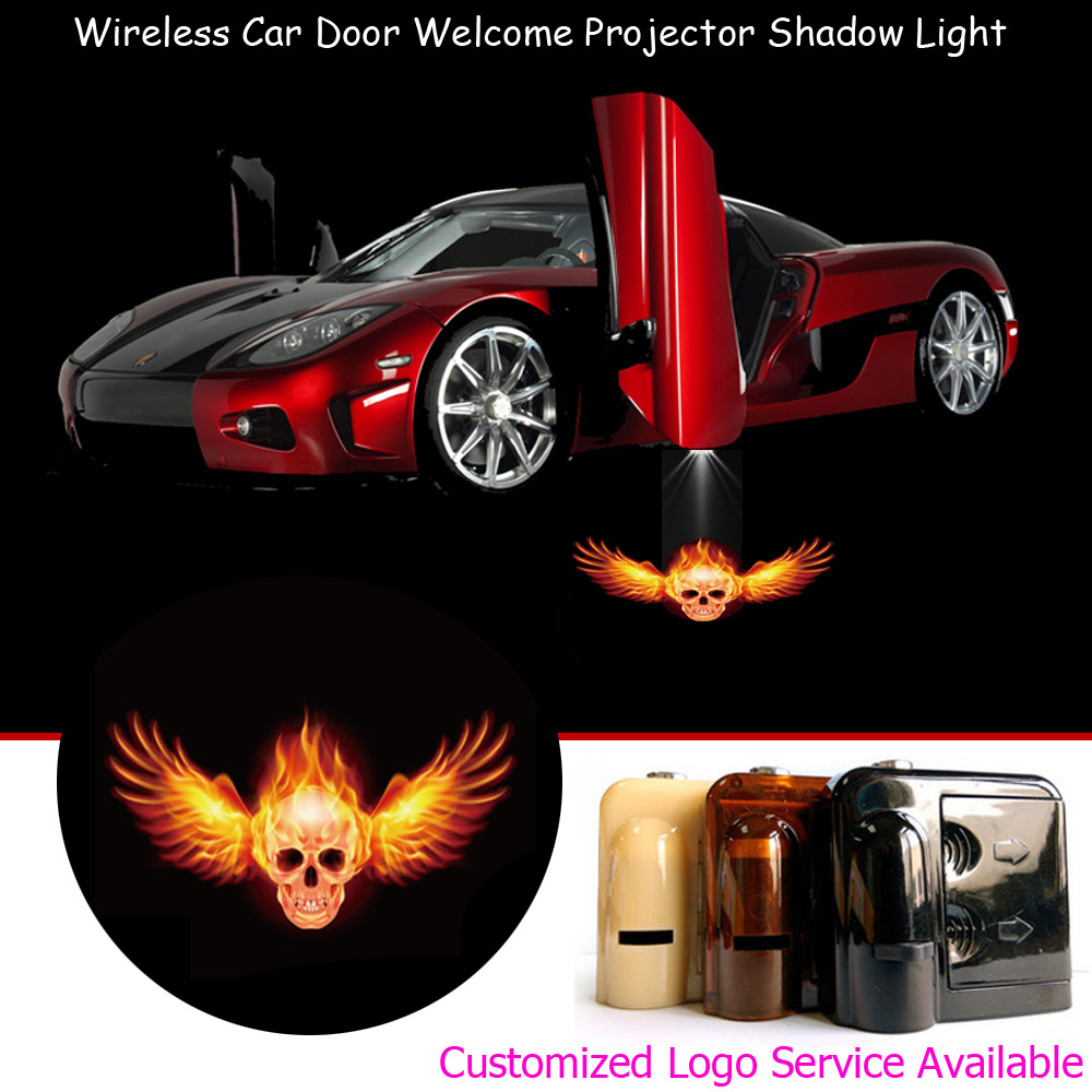 Skull NewL 2x Custom Logo Wireless Laser Projector Car Door Step Courtesy Welcome Lights Puddle Ghost Shadow LED Lights Accept Custom Logo