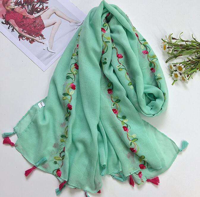 Broderie gland écharpe coloré floral 180*90 cm couleur unie avec broderie fleur écharpe hijab châle 8 couleurs 10 pc/lot