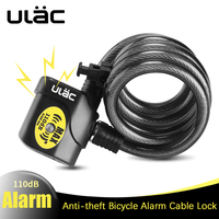 ULAC Alarm Lock For Bicycle Motorcycle Steel Cable Bike Lock Cycling Bike Cable Lock Anti theft Security Wire Bicycle Lock Alarm
