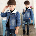Childrens clothes Winter outerwear 2016 children denim jacket add cashmere thick wool Boys Denim coat A473