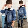 Crianças outerwear roupas de Inverno 2016 crianças Meninos Denim casaco jaqueta jeans adicionar cashmere de lã grossa A473